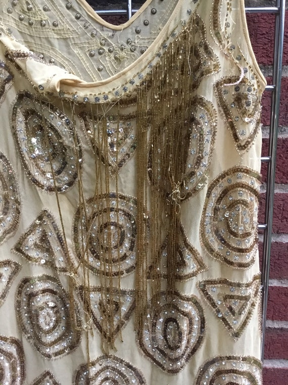 1920s Flapper Gold Dress as is