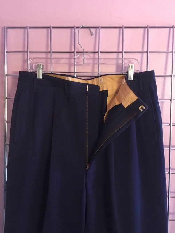 1940s Double Pleated Blue Gaberdine Trousers