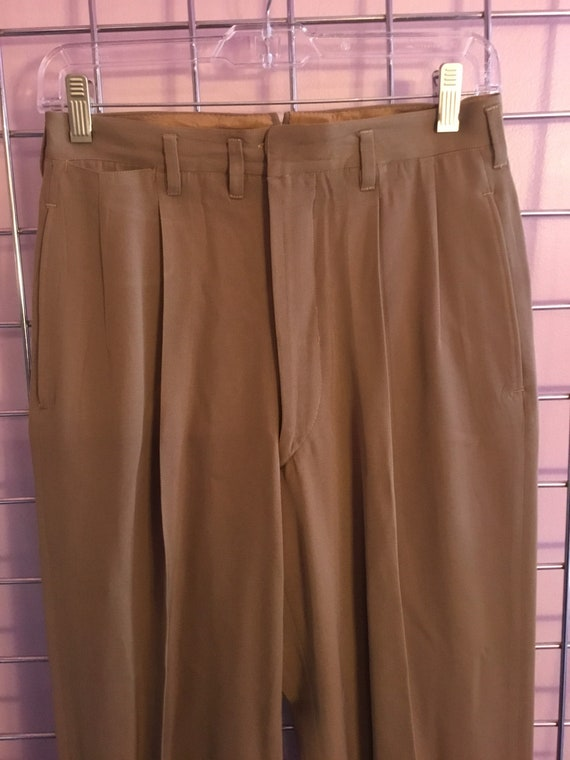 1940s  Double Pleated Khaki Gaberdine Trousers