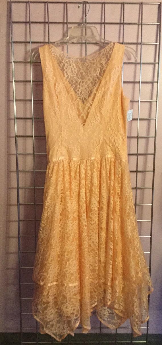 80's Peach Lace Dress