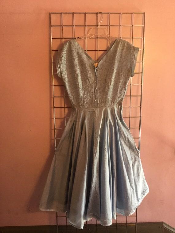 1950s Full Circle skirt blue cotton dress