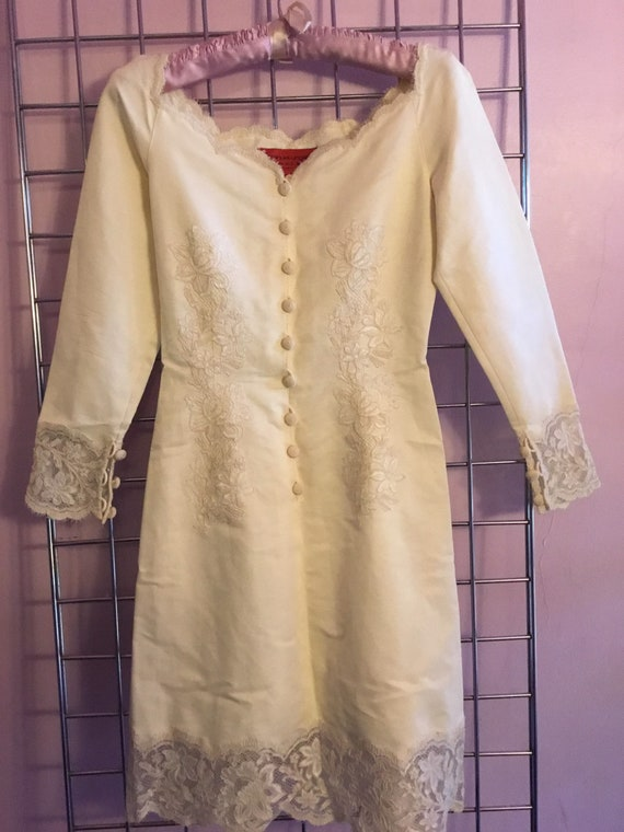 Emanuel Ungaro winter white dress with lace
