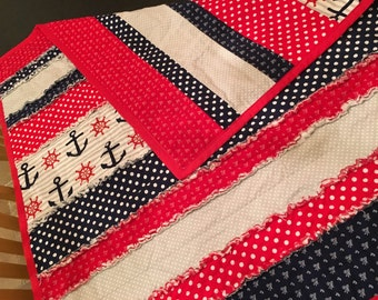 Striped Nautical Red and Navy Rag Quilt
