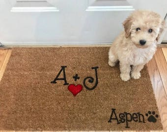 Quick View. Personalized Couple And Dog Door Mat ...