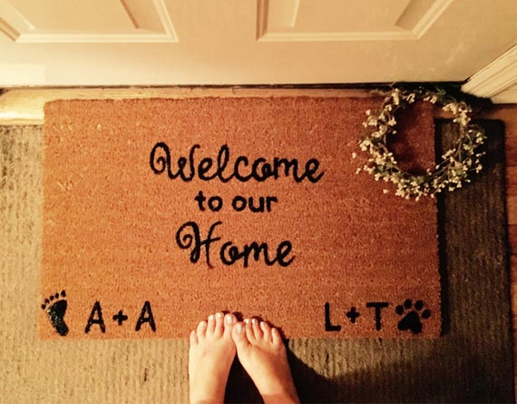 Welcome To Our Home Couple And Pet Door Mat, Custom Doormat, Doormats With  Sayings, Dog Lover Door Mat, Footprints, Paw Prints, Outdoor Mat