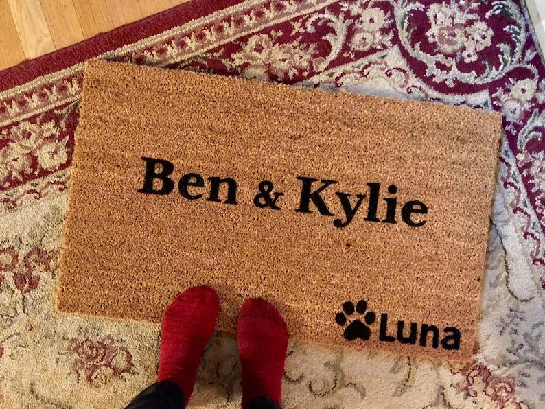 Personalized Couple And Dog Door Mat Custom Doormat Couples Etsy