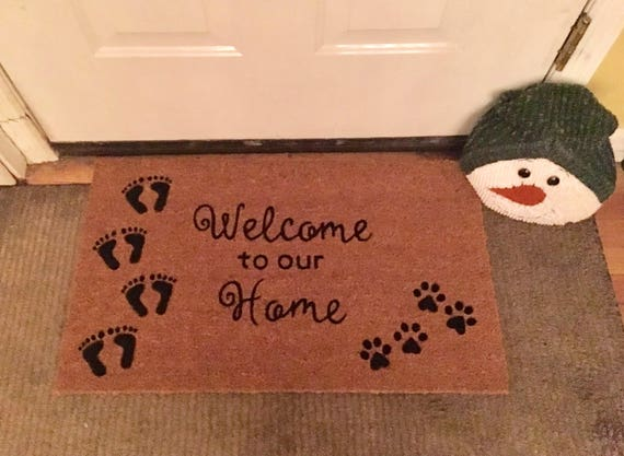 Welcome To Our Home Foot Prints And Paw Prints Door Mat | Etsy