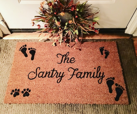 Personalized Family Doormat With Foot Prints And Paw Prints