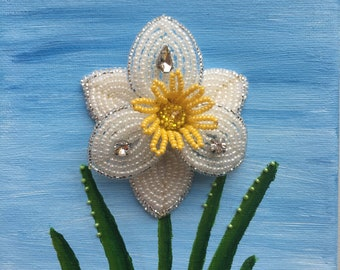 Daffodil floral brooch painting