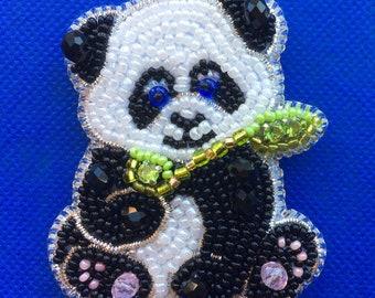 Decorative brooch, accessory - a black and white panda