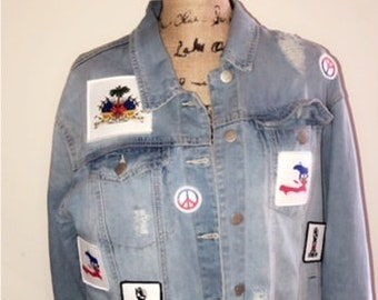 I Love Haiti Patch Denim Jacket