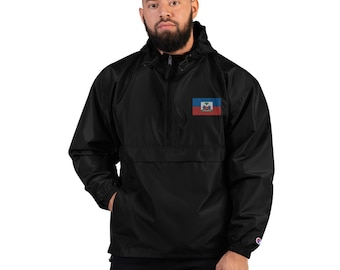 Small Haitian Flag Embroidered Champion Jacket