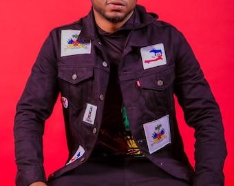 1804 Patch Design Black Denim Jacket