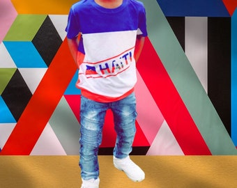 Crossover Haiti Red White and Blue Kids T-shirt
