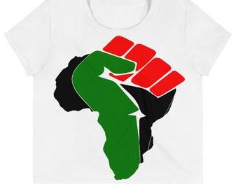 African Fist  Print Crop Tee