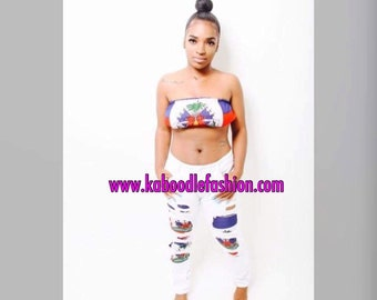 HaitianFlag Crop top + Hole Pencil Pants Ripped Jeans
