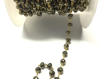 Pyrite Rosary Chain, Pyrite Stone Chain,  Gold Plated Chain Wire Wrapped Chain, Rosary Chain,  Rosary Beaded Chain Stone Chain By Foot