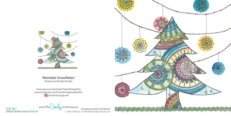 Christmas Greeting Cards Mandala Snowflakes Greetings Card Etsy