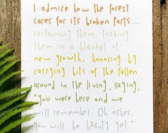 I Admire the Forest // Original Poetry Print // 8x10 Art Print