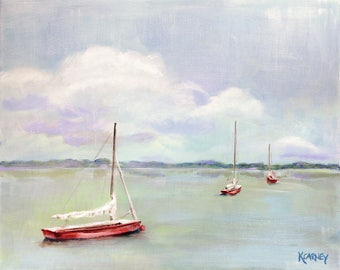 Safe Harbor Chesapeake : Fine art giclee sailboat print color from original sailboat acrylic painting