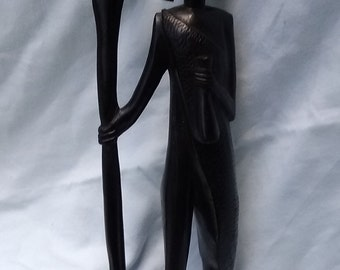 Ironwood African Warrior with Spear Carving