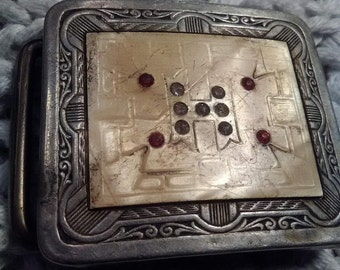 "Vintage Silverplated Belt Buckle with Letter ""H"" and Rubies"