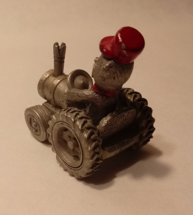 Spoontiques Mini Pewter Teddy Bear on Tractor #S675
