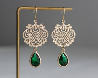 Gold plated Filigree pendant with emerald green teardrop earrings Wedding Bridesmaid earrings Gift for her