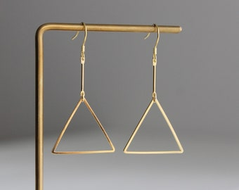 Gold plated bar and triangle earrings Modern minimal Geometric earring Statement earrings gift for her