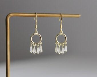 Small gold plated over silver hoop zircon fringe earrings Geometric earrings Wedding Bridesmaid earrings Gift for her