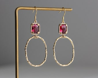Gold plated textured oval hoop with rose pink glass beads earrings Wedding Bridesmaid earrings Gift for her