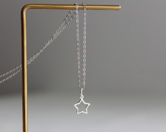 Small sterling silver star pendant necklace Dainty necklace Minimal necklace Gift for her