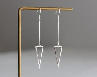 Sterling silver bar triangle earrings Modern Minimal Geometric earrings Gift for her