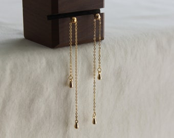 Gold plated double long chain earrings Modern minimal earrings Unique Statement earrings Gift for her