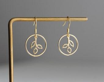 Small gold plated hoop leaf earrings Bohemian earrings Dainty earrings Gift for her