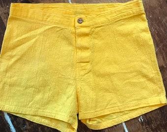 bb28ed7f9f Vintage 80s Ocean Pacific Surf Shorts | 1980s Retro Womens 30 Yellow Crepe  Cotton