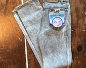 Vintage Lee High Waisted Jeans Frosted Riders 80s Student 25x32 Black Denim NOS