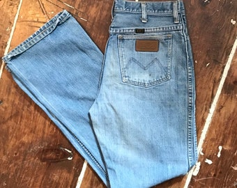 Clothing, Shoes & Accessories Jeans Vtg Maverick 28x32 Denim Jeans Nos Made In Usa Blue Flare Leg Mens Bell Bottom Big Clearance Sale