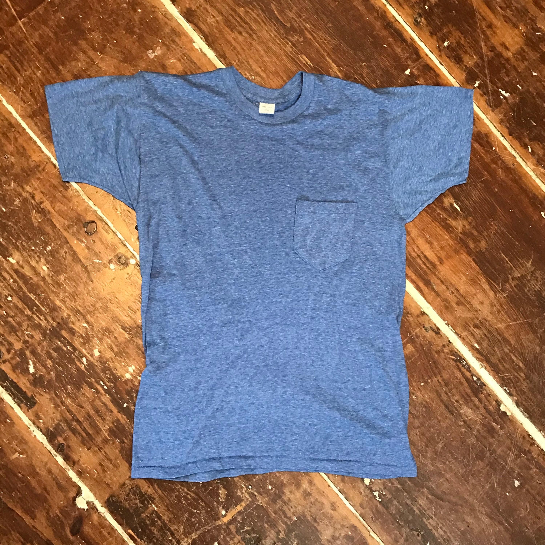1970s Mens Shirt Styles – Vintage 70s Shirts for Guys Vintage 70S K Mart Pocket T-Shirt  Mens ML Blue 50-50 Single Stitch Crewneck $22.00 AT vintagedancer.com