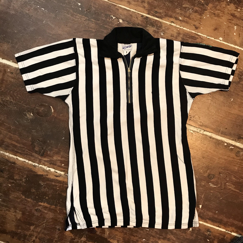 1940s Men's Shirts, Sweaters, Vests Vintage 40S Referee Striped BlackWhite Wool Jersey Shirt  Mens SM Talon Zip $25.00 AT vintagedancer.com