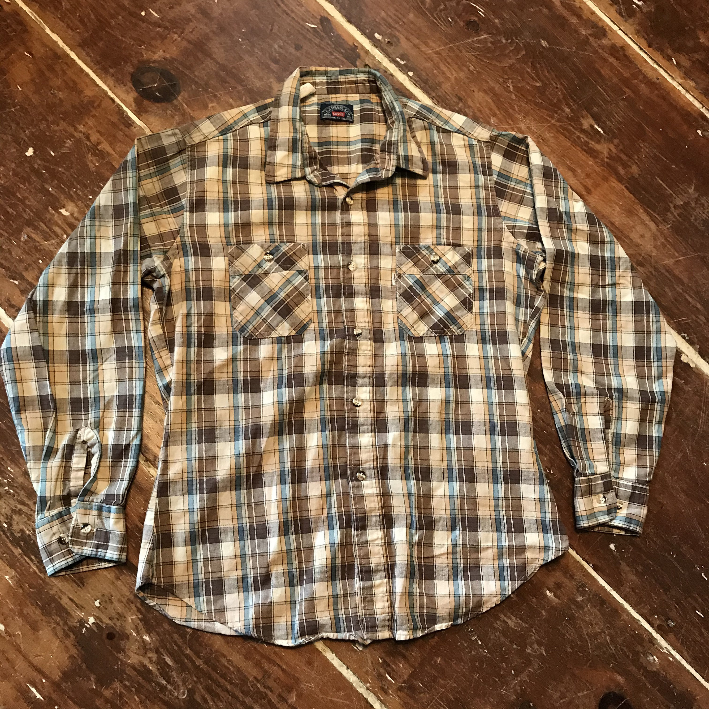1970s Mens Shirt Styles – Vintage 70s Shirts for Guys Vintage Levis Cotton Twill Plaid Button Up Shirt  70S 80S Mens Xl Brown Usa Made $25.00 AT vintagedancer.com