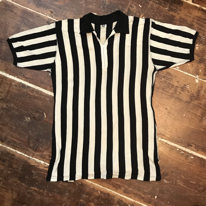 1940s Men's Shirts, Sweaters, Vests Vintage 40S Referee Striped BlackWhite Wool Jersey Shirt Mens Medium Talon Zip $25.00 AT vintagedancer.com