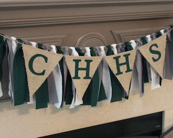 Custom Graduation Party Rag Banner with Pennants