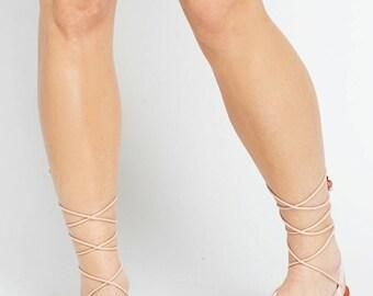 Sandales gladiateur en cuir / cravate / sandales à lanières sandales / Spartiates sandales / main sandales / antique grecs sandales / 5 et taille 6 sandales