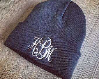 Monogrammed Beanie- Fleece-Lined Beanie- Embroidered Hat- Monogram Knit  Cap- Personalized Winter Beanie 180bd729db9