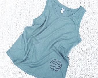 Slouchy Monogrammed Tank- Monogrammed Tank- Flowy Embroidered Ladies Top
