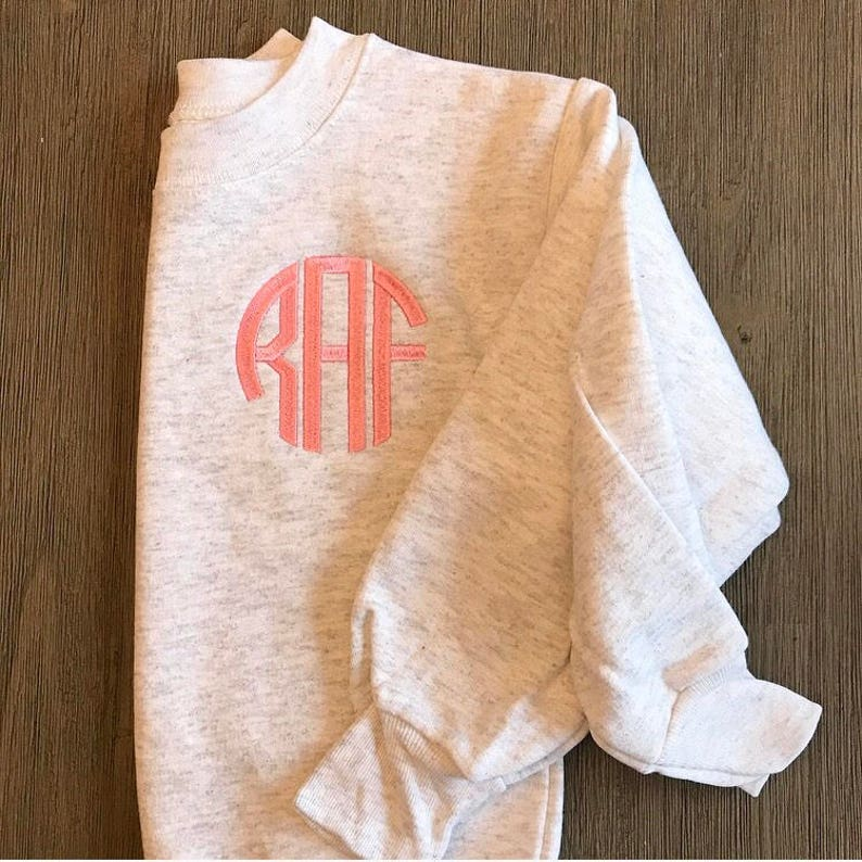 Youth Pullover Personalized Girls Crewneck Monogrammed Youth Sweatshirt