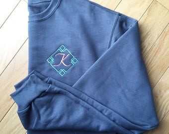 Diamond Initial Sweatshirt- Embroidered Crewneck- Monogrammed Sweatshirt- Personalized Pullover- Initial Sweatshirts