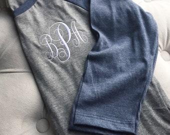 Monogrammed Ladies Baseball Tees - Personalized, Embroidered, Ladies Baseball 3/4 Length Sleeve T-Shirt