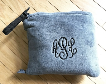 Packable Travel Blanket- Embroidered Blanket- Monogrammed Blanket- Car Blanket- Personalized Blanket